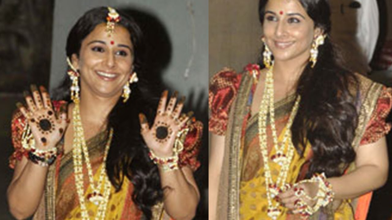Bangladesh Mehndi Ceremony : Vidya balan in bengali attire at her mehandi ceremony youtube