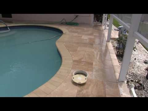 Travertine Paver Pool Deck by Tuscan Paving Stone