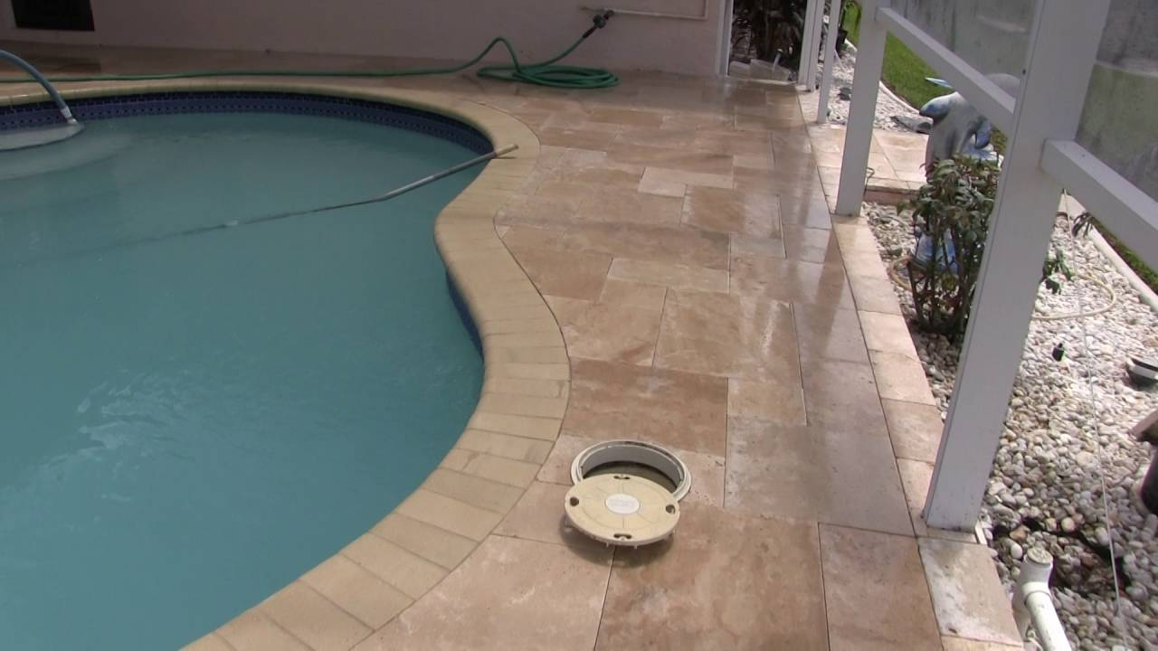 Tile Over Concrete Pool Deck Travertine Paver Pool Decktuscan Paving Stone  Youtube