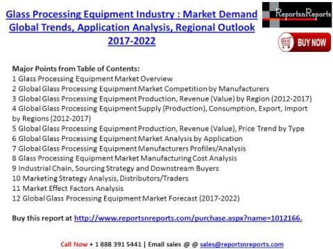 Global Glass Processing Equipment Market 2017-2022 Growth, Trends and Demands Research Report