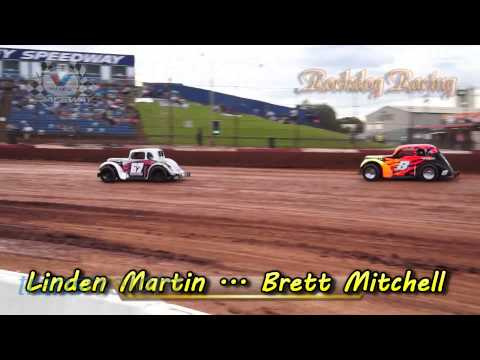 Legend Cars Heat Race - March 22nd 2014 - Valvoline Raceway - Rockdog Racing Videos