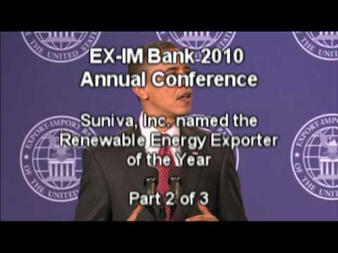 2 of 3: EX-IM Bank Names Sunivia, Inc. Renewable Energy Exporter of the Year 2010