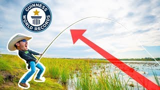 Building the WORLDS LONGEST Fishing Rod! (BIG FISH CATCH)