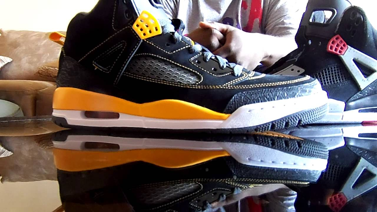 f1091bc29351 Nike Air Jordan Spizike Black and Gold vs Black Cement Spizike - YouTube