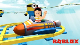 UMA VOLTA NA MONTANHA-RUSSA DOS MINIONS!!! - ROBLOX (ROCKET CAR RIDE INTO THE MINIONS FOR ADMIN)