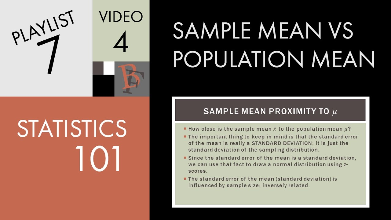 statistics and population mean This is your estimated mean calculated using a sample of data collected from your population.