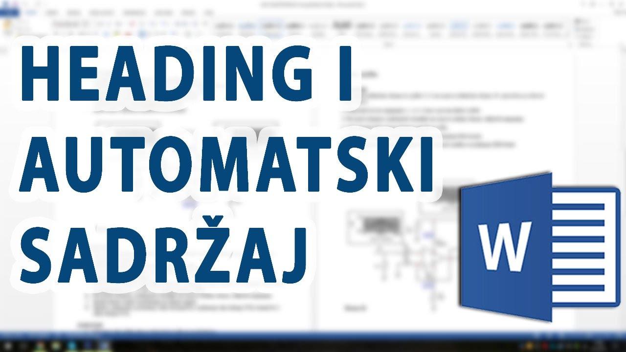Download Automatski sadržaj u Word 2013 (pomoću Heading-a)