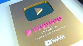 Toys and Fun Youtube altın play button ödülünü aldı ve 1.000.000 abone için bir milyon teşekkür etme