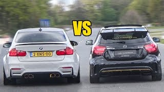 BMW M3 vs Mercedes-Benz A45 AMG vs CLA45 AMG - DRAG RACE!