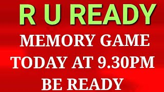 LIVE MEMORY GAME SHOW-TODAY AT 9.30PM