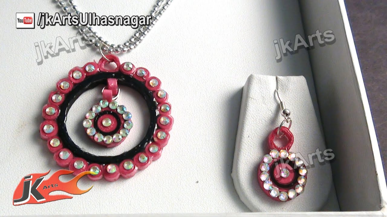 DIY Paper Quilling Jewelry Set How to make JK Arts 379 YouTube