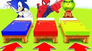 Minecraft : DO NOT CHOOSE THE WRONG BED (SONIC, SPIDERMAN, GRINCH)(Ps3/Xbox360/PS4/XboxOne/PE/MCPE)