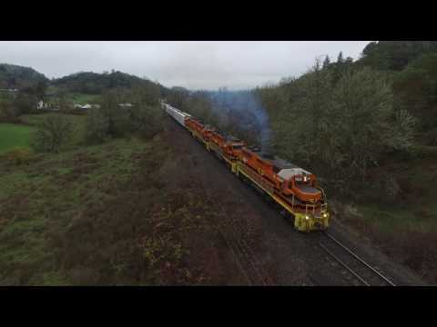 Drone view: Aerial footage of Central Oregon & Pacific RR (CORP) train