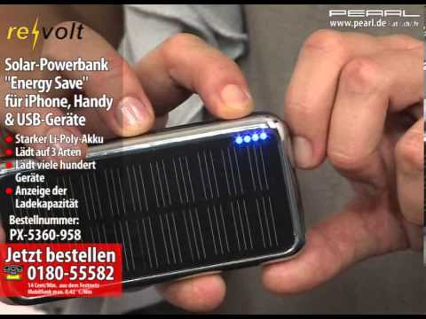 "revolt Solar-Powerbank ""Energy Save"" für iPhone, Handy & USB-Geräte"