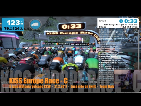 KISS Europe Race - 8 laps Watopia Volcano CCW - 21.2.2017 - Luca ride on Zwift