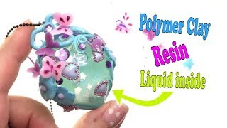 Polymer clay and resin pendant with liquid inside- Tutorial