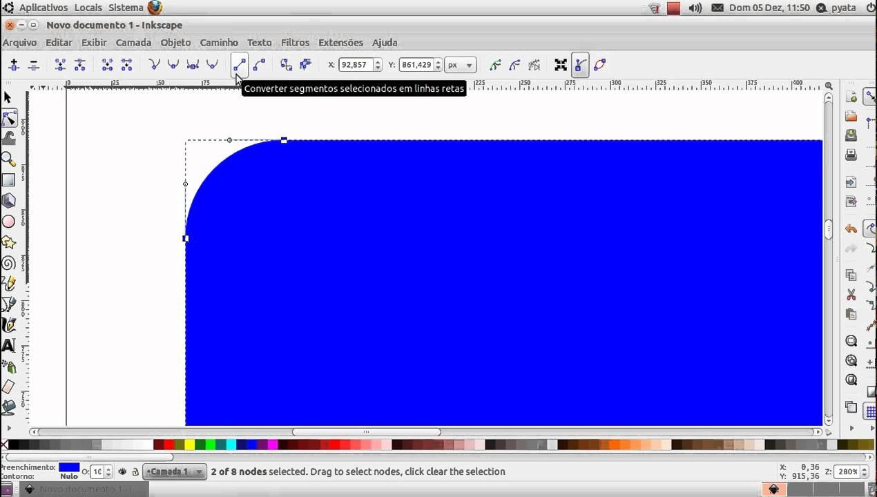 tutorial inkscape - quadrado com dois canto boleados