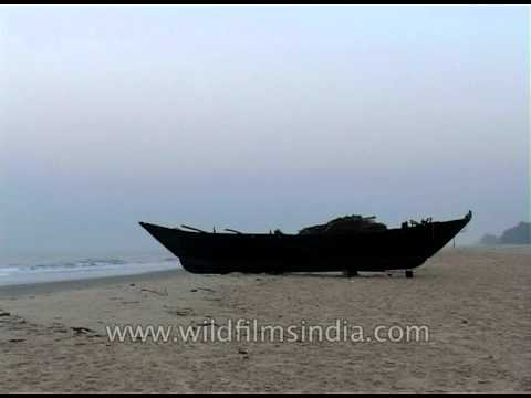 A lonely fisher boat on the banks of Goa