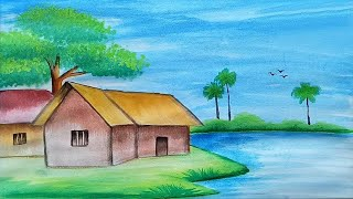 How to draw a scenery/ landscape with water color for beginners