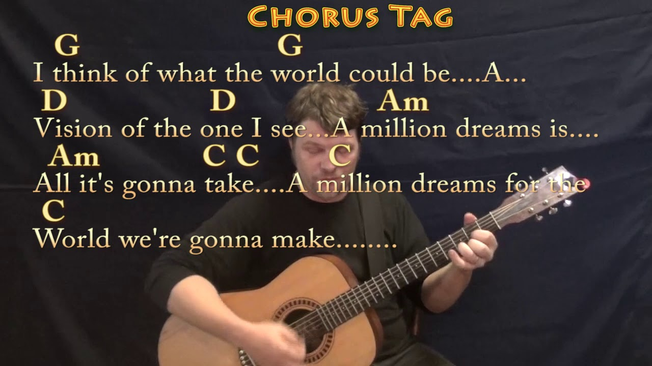 A Million Dreams (The Greatest Showman) Strum Guitar Cover Lesson with  Chords/Lyrics