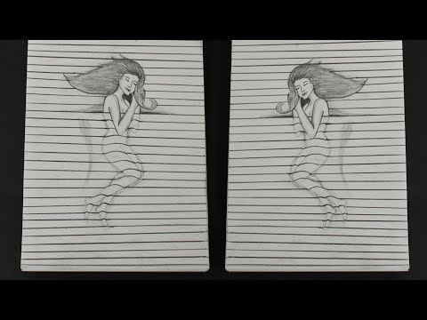 How To Make 3D Drawing Of Girl - Illusion Trick Art - DIY Crafts