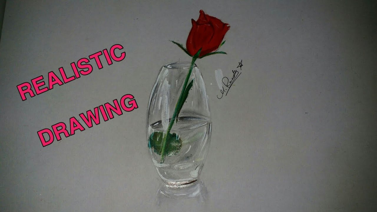Rose In Vase Realistic Drawing