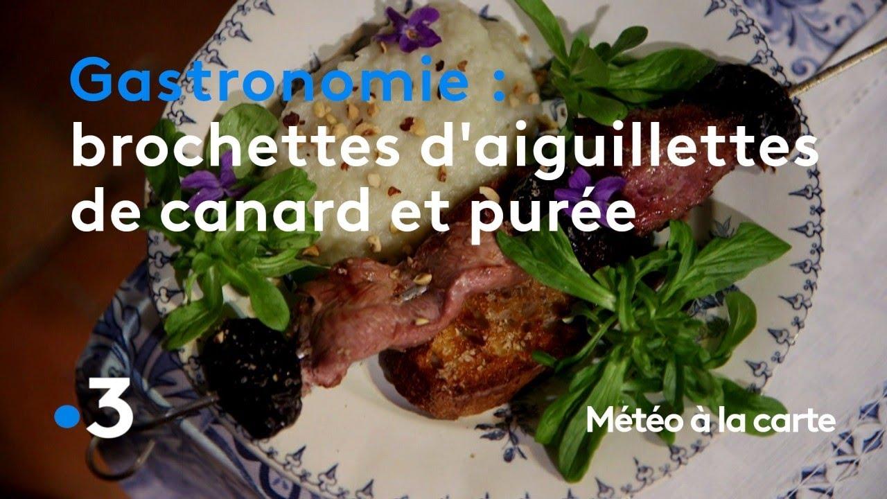 Gastronomie : brochettes d'aiguillettes de canard et purée d'exception