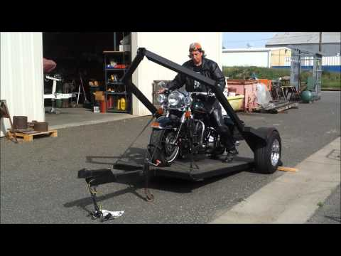 Hog Hauler Ultimate Motor Cycle Trailer  Unloading