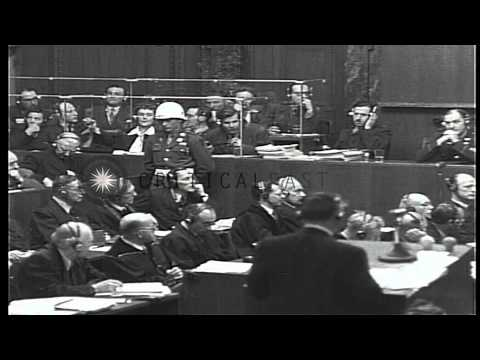 Hermann Goering gives response to Chief Prosecutor Robert H Jackson during the Nu...HD Stock Footage