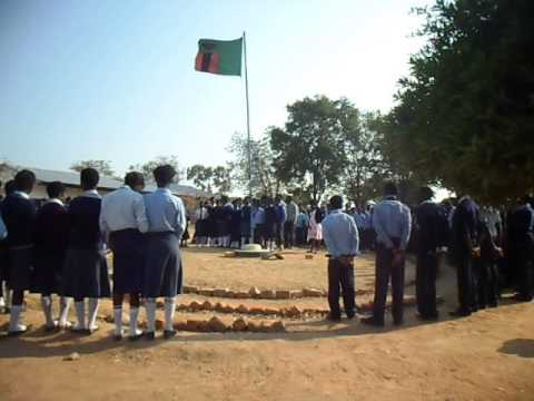 ICS 2014 Zambian National Anthem in School Assembly