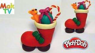 How to make the christmas boot of Play Doh Как сделать рождественский сапожок  из пластилина.