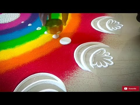 Rainbow Rangoli Design for Diwali