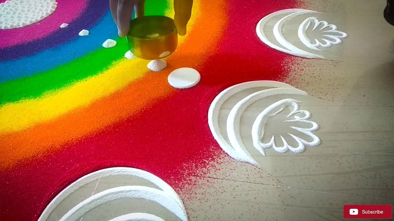 Rainbow Rangoli Design for Diwali