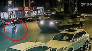 Shocking video shows man 'run over' by two tanks during Turkey coup