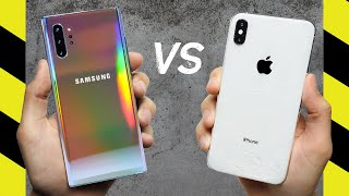Galaxy Note 10+ vs. iPhone XS Max Drop Test!