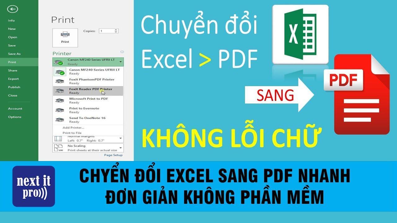 Chuyển Đổi EXCEL Sang PDF Nhanh Đơn Giản Không Phần Mềm Mới Nhất 2020 #nextitpro