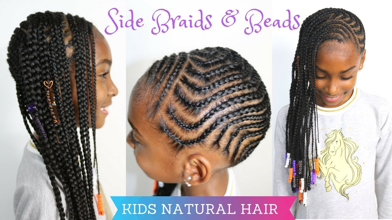 kids natural hairstyles | side braids & beads tutorial