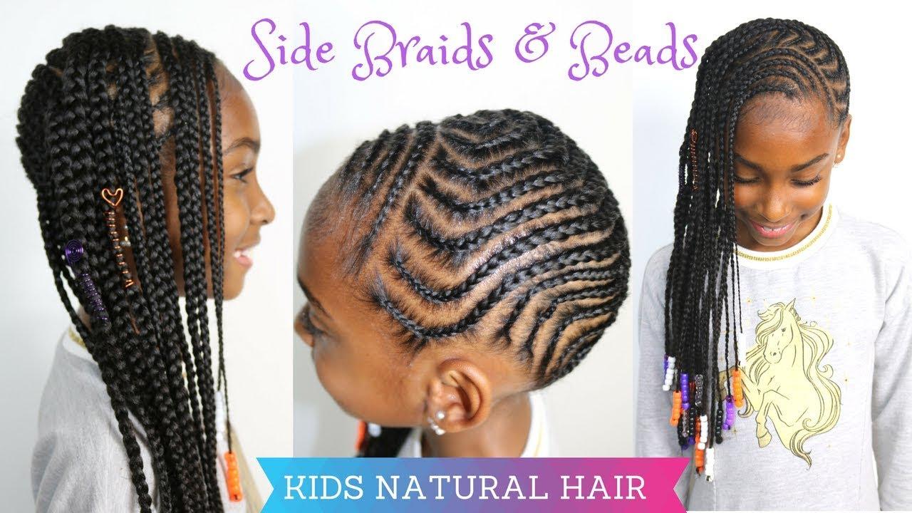 kids natural hairstyles | side braids & beads tutorial