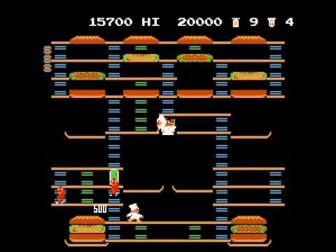Nintendo (NES) BurgerTime Perfect Run Levels 1 to 3
