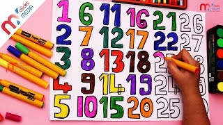 How to Draw & Paint 1 To 30 Numbers For Kids Learning Colors || My Kids Rhymes