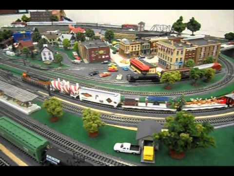 christmas train running on n-scale model railroad train layout at ...