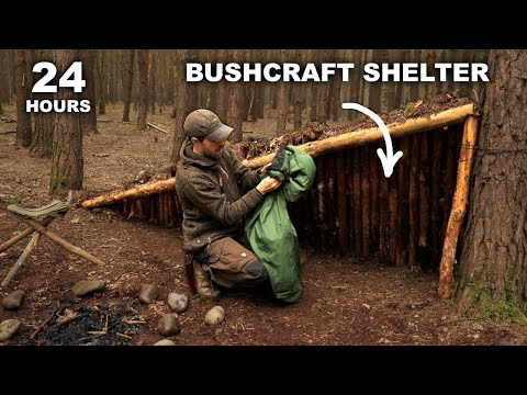 24 HOURS: Sleeping in Bushcraft Stealth Survival Shelter | British Military MRE Rations