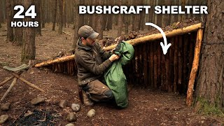 24 HOURS: Sleeping in Low Profile Survival Shelter | British Military MRE Rations | Bushcraft