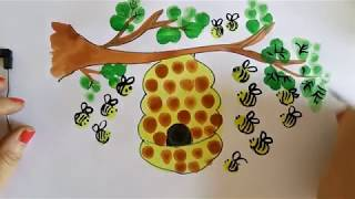 Finger painting tutorial for Kids, How to draw Beehive - Thumb Painting Ideas