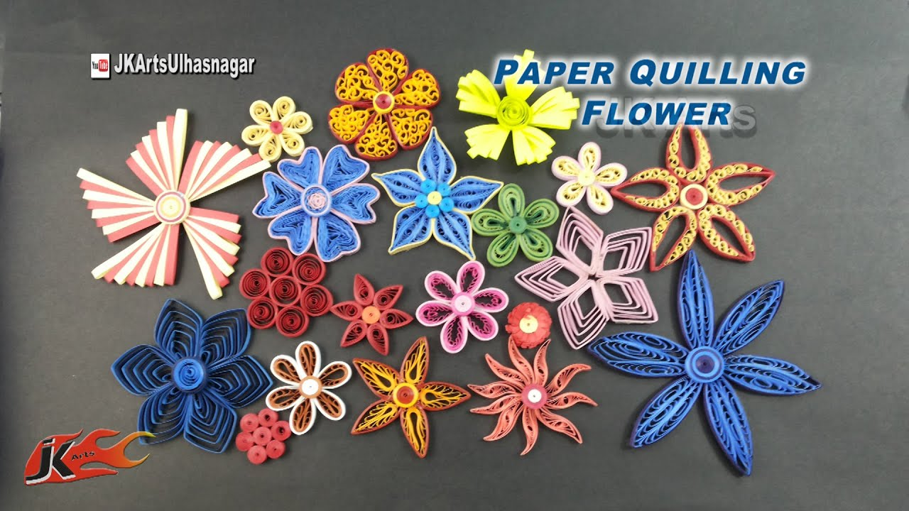 20 paper quilling flowers tutorial how to make jk arts 922 youtube mightylinksfo