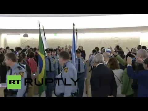 Switzerland: Olympic flame arrives at United Nations office in Geneva