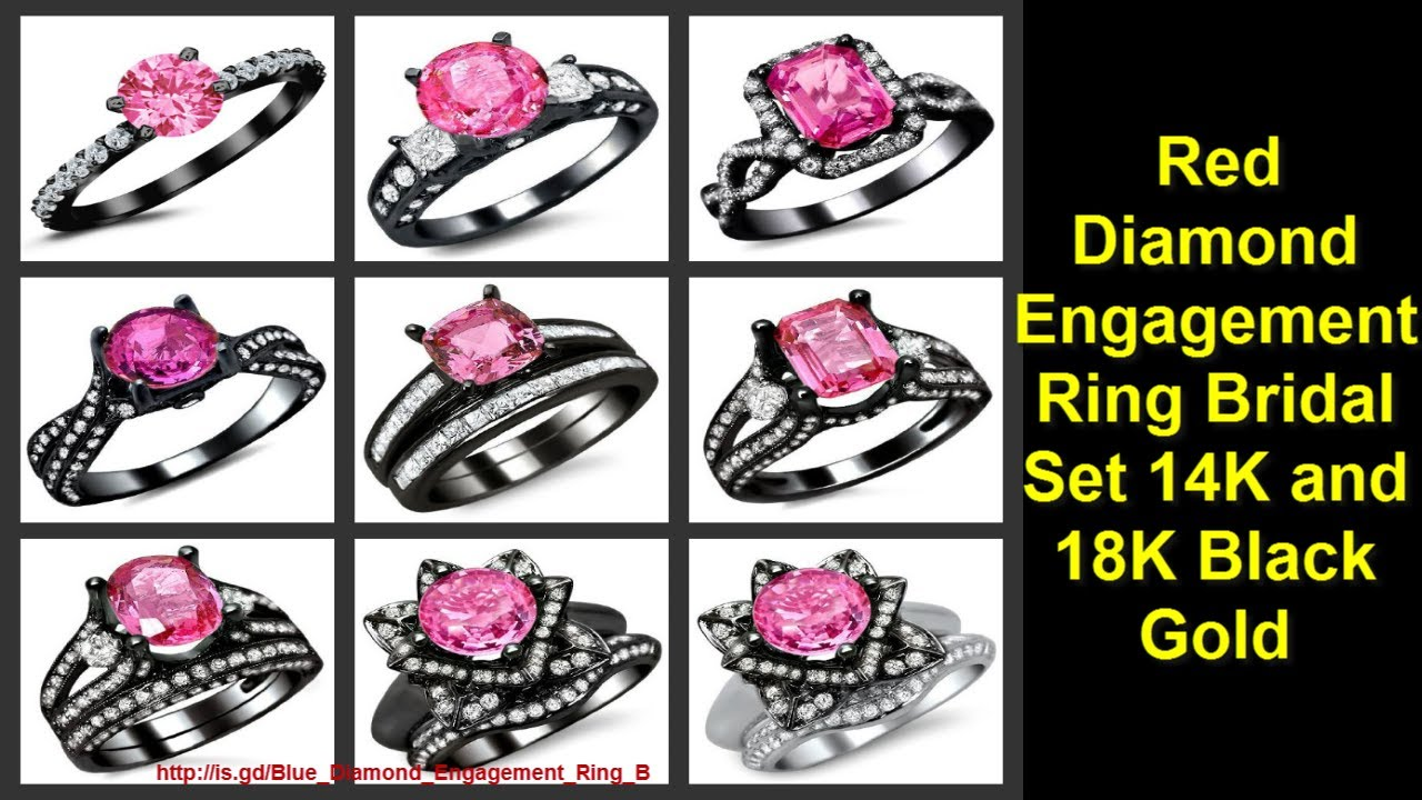 red diamond engagement ring bridal set 14k and 18k black gold wedding rings engagement ring youtube youtube - Black And Pink Wedding Ring Sets