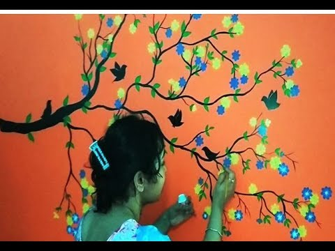 Wall Painting Tree Blossom Design On Living Room Ii Home Decor Youtube