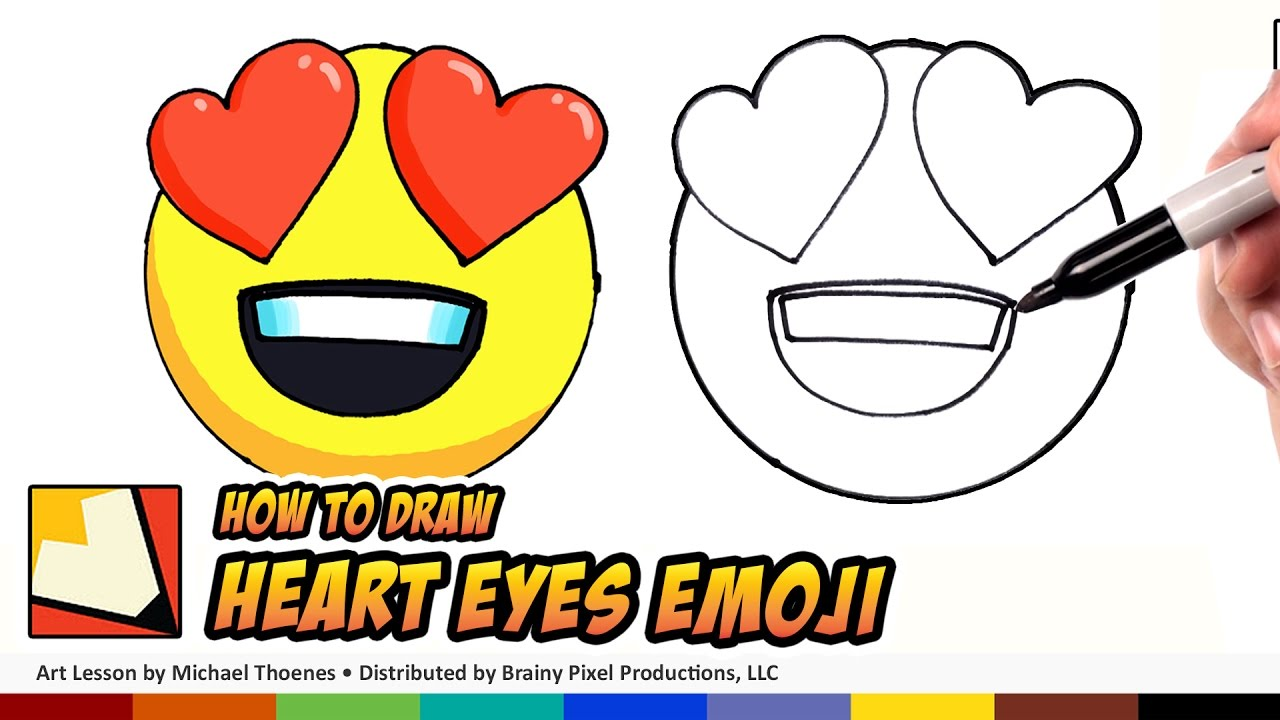 How to Draw Emojis Heart Eyes Step by Step for Beginners | BP