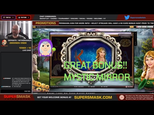 Mystic Mirror BIG win in bonus feature! LOTS of hits!
